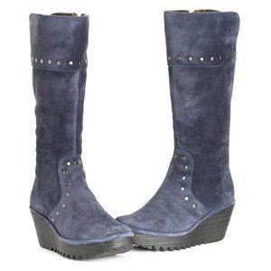 Fly London Yota Studded Wedge Boot, Navy